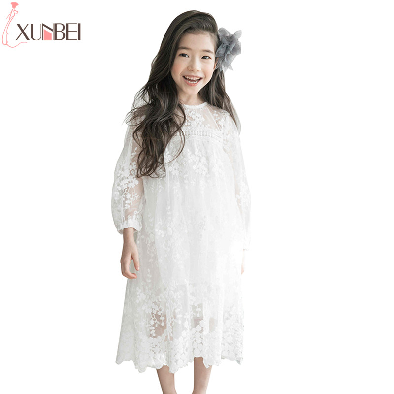 Pretty White   Flower     Girl     Dresses   Lace 2019 Pageant   Dresses   For   Girls   Kids First Communion   Dresses   robe de mariage enfant fille