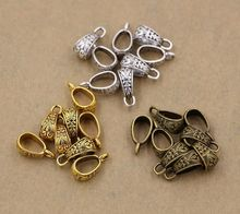 Hot ! 15pcs Antique silver / gold / bronze Zinc Alloy Triangle Pendant Connector Bail Clasps 7x17mm cx74 movable skeleton shaped zinc alloy pendant necklace bronze