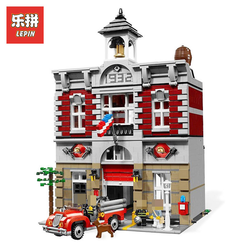 Lepin 15004 2313Pcs City Street Creator Fire Brigade Model Building Kits Blocks Bricks Compatible LegoINGlys 10197 children toy lepin 15004 2313pcs city creator fire brigade model kits figures street building blocks bricks compatible toys gift 10197