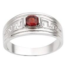 Men Silver Ring 925 Red Garnet Gemstone 5mm Crystal January Birthstone Carpricorn Teeth Carve Design R518RGN