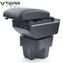 hot deal buy vtear for kia rio k2 armrest box usb charging interface heighten central store content box cup holder ashtray accessories parts