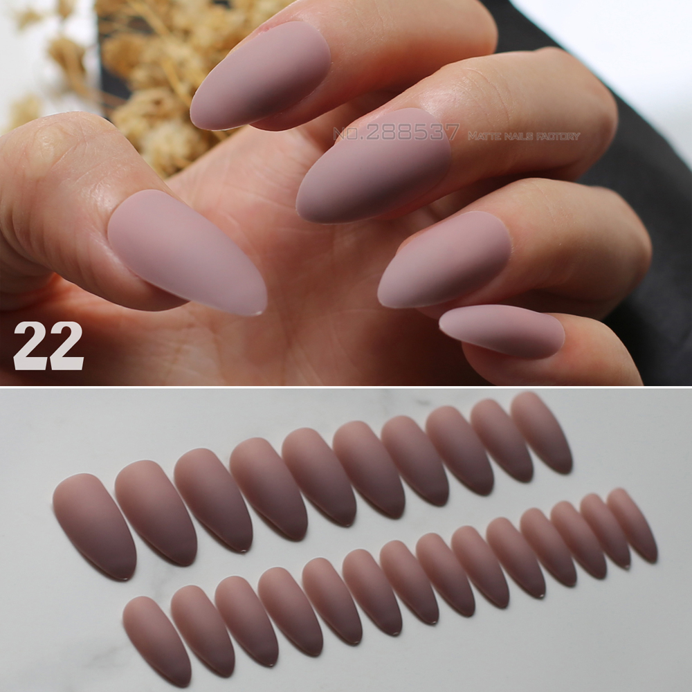 24pcs Brown Matte Stiletto Nails Pink Medium Fake Red False Full Nail Tips Easy To Wear Multicolor Selection In From Beauty