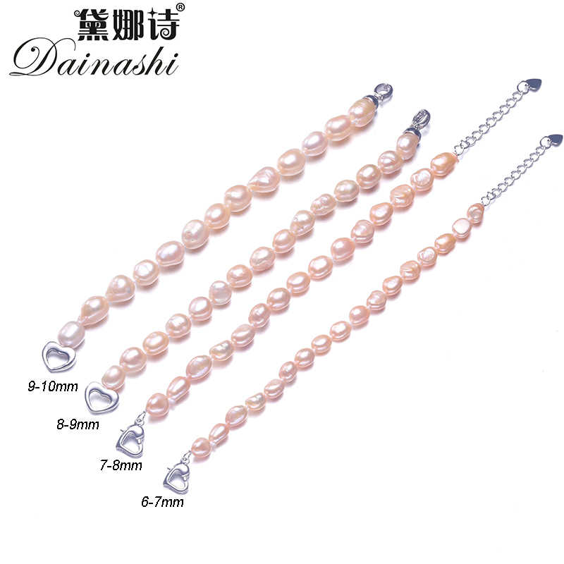 Dainashi 90% สีขาวสีชมพูสีม่วงสีเทาไข่มุกน้ำจืดเครื่องประดับ Baroque สร้อยข้อมือ 925 เงินสเตอร์ลิง Clasp 2019