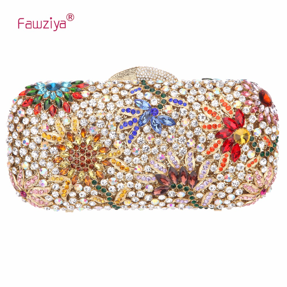 Fawziya Crystals Floral Clutch Bags For Womens Purses And Handbags fawziya womens handbags and purses man made cat s eye sunflower clutch bag for women purse