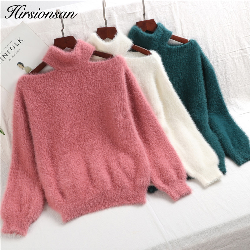 Hirsionsan Sweater Women 2019 Winter Autumn Sexy Off Shoulder Mohair Pullovers Casual Turtleneck Mink Cashmere Warm Pull Femme