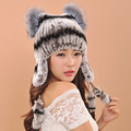 Earflap Hats Winter warm fur hat for women real knitted Rex Rabbit Fur Hat with real fox fur Pom Poms caps fashion female caps