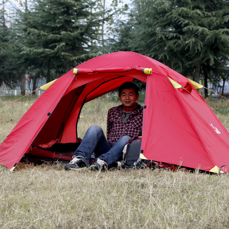 Hewolf good quality double layer aluminum pole 2 person waterproof camping tent with snow skirt цены