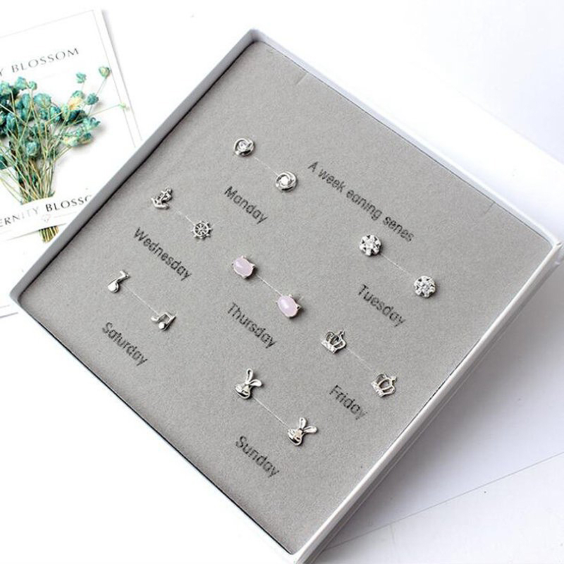 Ruifan One Week 7 pairs/set Small Stud Earrings Set with Box 2019 Womens Earring 925 Sterling Silver Stone YJS005