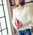 blusa feminina 2016 plus size women blouses lace shirt women tops summer ladies white blouse puff sleeve floral shirt camisas