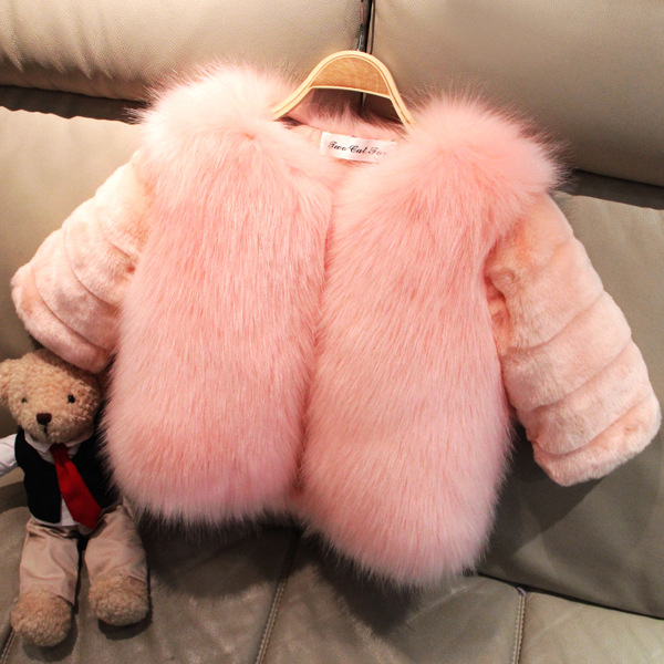 2018 Winter and New Baby Out Wear Imitation Fox Fur Grass Children Girls' Faux Fur Coat Baby Clothes girls fur coat clothing with pearl lace flower autumn winter wear clothes baby children faux fur dress dresses style jacket 2017