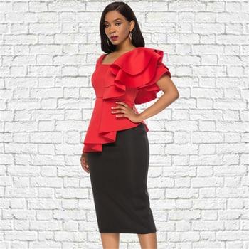 2 Piece Sets Summer Women Sexy Red Tops Black Skirts Irregular Sleeves Backless Ruffles Club Night Party Wear Slim Jupes Fashion