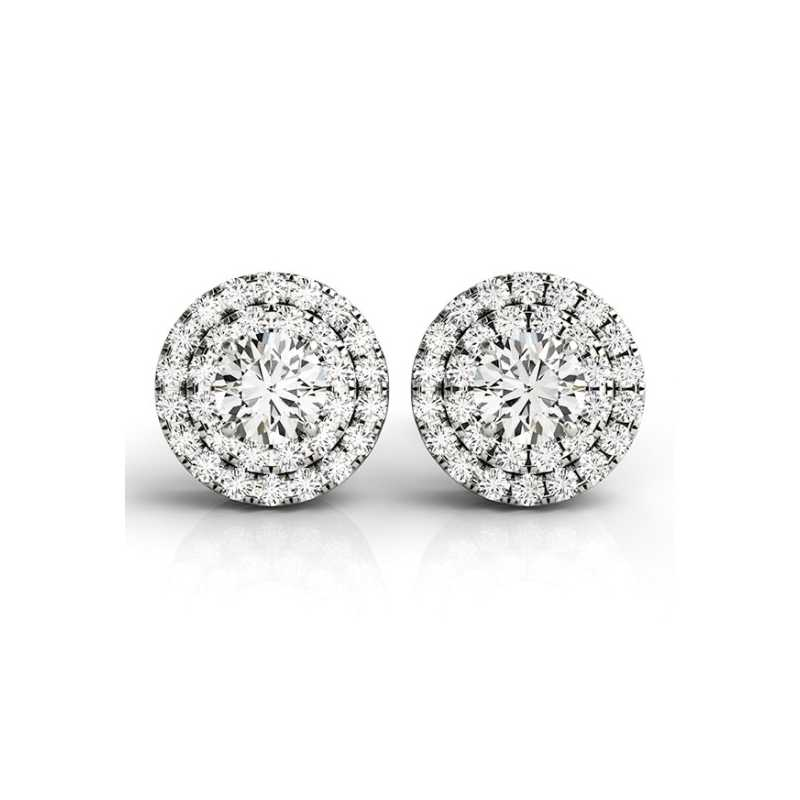 ... QYI 925 Sterling Silver Stud Earrings 0.8 Carat Full Round Simulated Diamond  Earring White Gold Ball ...