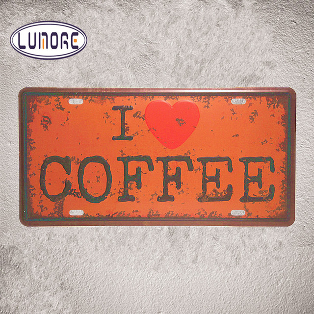 Vintage License Car Plates I Love Coffee Shabby Chic Metal Tin Signscoffee Cafe Wall