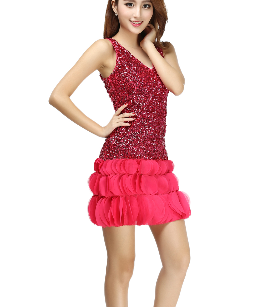 V Neck Sequin Mini Short Fitted Tank Top Ruffle Nightclub ...