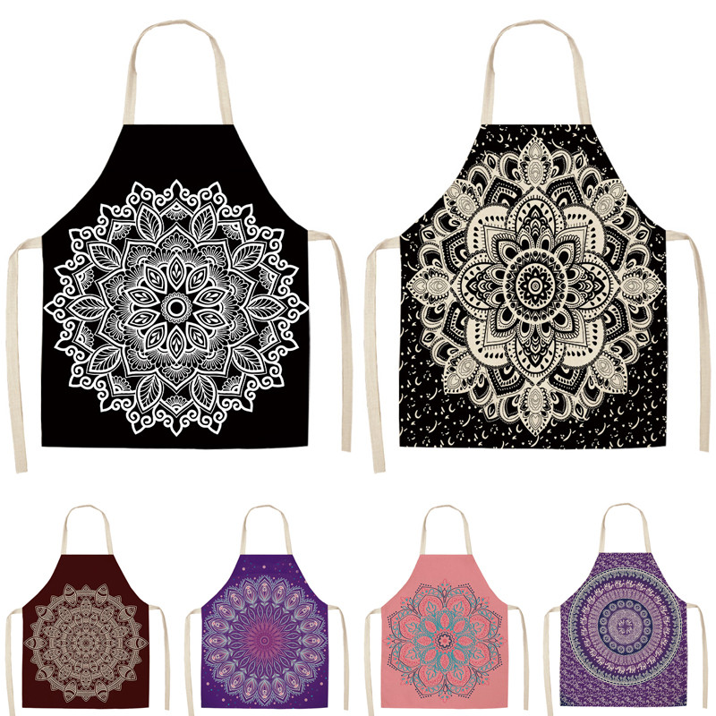 1Pcs Mandala Printed Kitchen Apron For Woman Home Cooking Baking Coffee Shop Cleaning Accessory Cotton Linen Bibs 53*65cm G1036