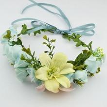 New Bohemian Big Flower  floral hair garland Hair Hoop Delicate Lily Headdress Beach Photo accessories