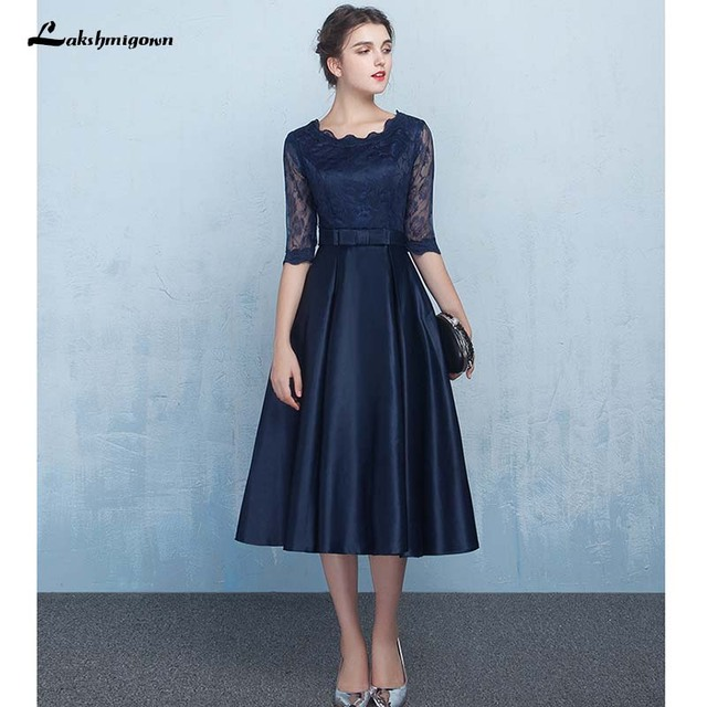 580555cb53bac Navy Blue Lace Mother of the Bride Dresses Formal Women Evening Dress  Zipper Back Knee Length Real Photos