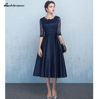 Navy Blue Lace Mother of the Bride Dresses Formal Women Evening Dress Zipper Back Knee Length Real Photos