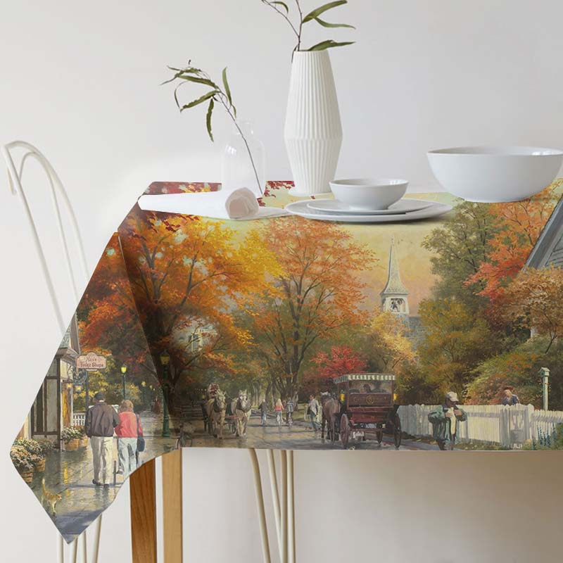 Cotton Linen Tablecloth for table Decorative table cloth Dining Table Cover Thomas Kinkade Painting Art For Kitchen Home Decor