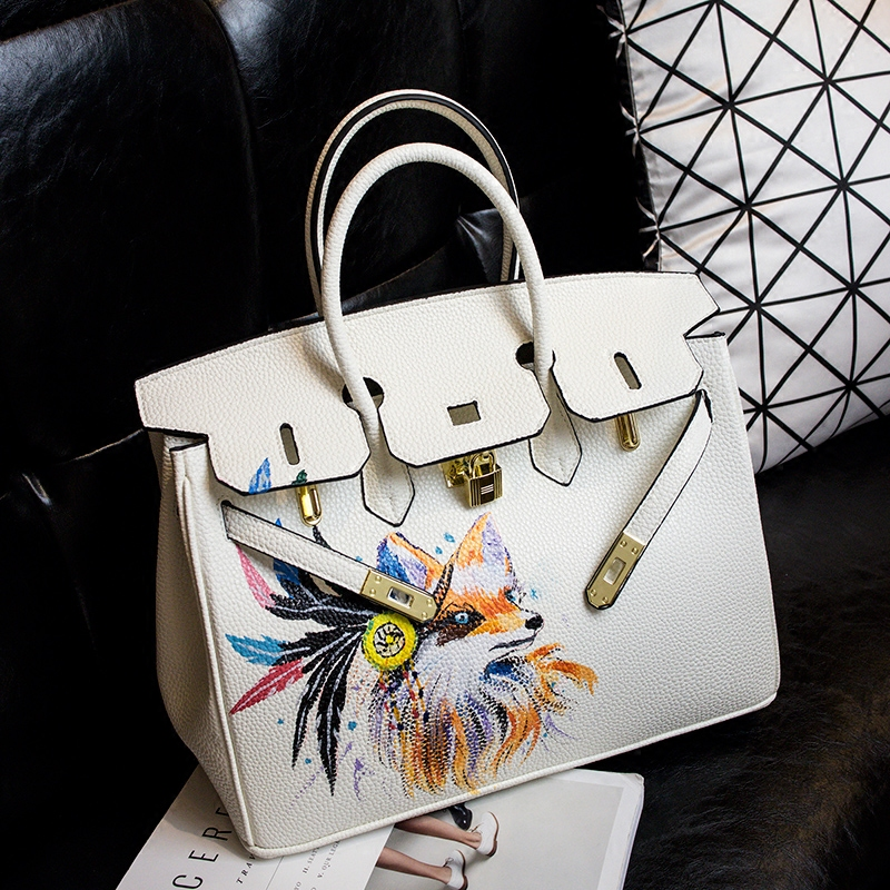 YCUSTBAG Luxury Design White Genuine Leathe 35CM Gold Hardware Handpainted Graffiti Female Bag Noble Color Cartoon Women Handbag vertu signature s design white gold реплика москва