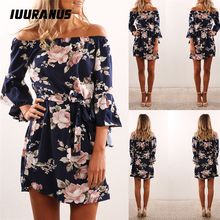 IUURANUS Women Dress 2019 Summer Sexy Off Shoulder Floral Print Chiffon Boho Style Short Party Beach Dresses