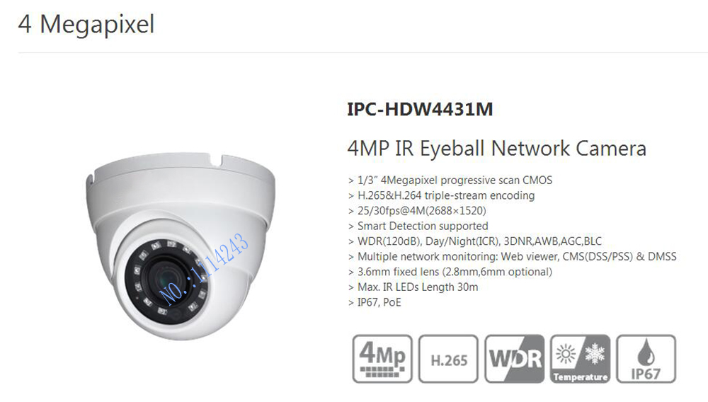 Free Shipping DAHUA Security IP Camera 4MP IR Eyeball Network Camera IP67 With POE without Logo IPC-HDW4431M free shipping dahua cctv camera 4k 8mp wdr ir mini bullet network camera ip67 with poe without logo ipc hfw4831e se