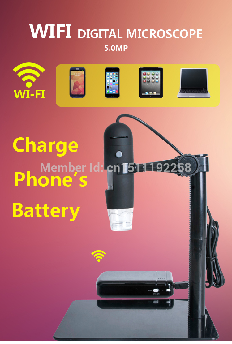 USB digital microscope Wireless support Android, IOS & WINDOWS PC 10x 200X charge phone battery цена