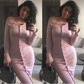 Moda rosa delgado ráfaga pecho cuello de un solo pecho de lana de lana de manga larga knit dress sexy dress