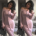 Moda rosa estourou no peito gola único breasted fino de lã de malha de lã de manga comprida dress sexy dress