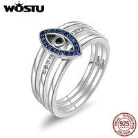 WOSTU New Style 925 Sterling Silver Lucky Nazar S Eye Finger Rings For Women Luxury S925