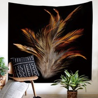 Feathers pattern Tapestry Home Decorations Wall Hanging comfortable Black bottom sell well twin full queen size Tapestry