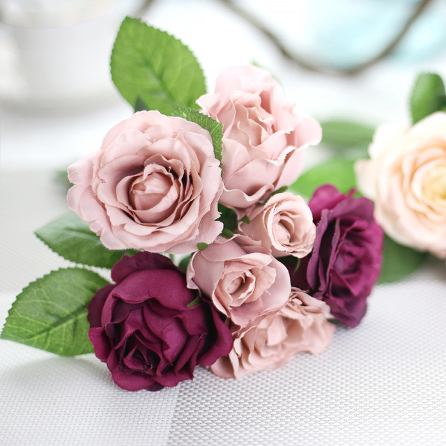 1 A Bunch Of Silk Hand Holding Flowers Small Rose Flowers