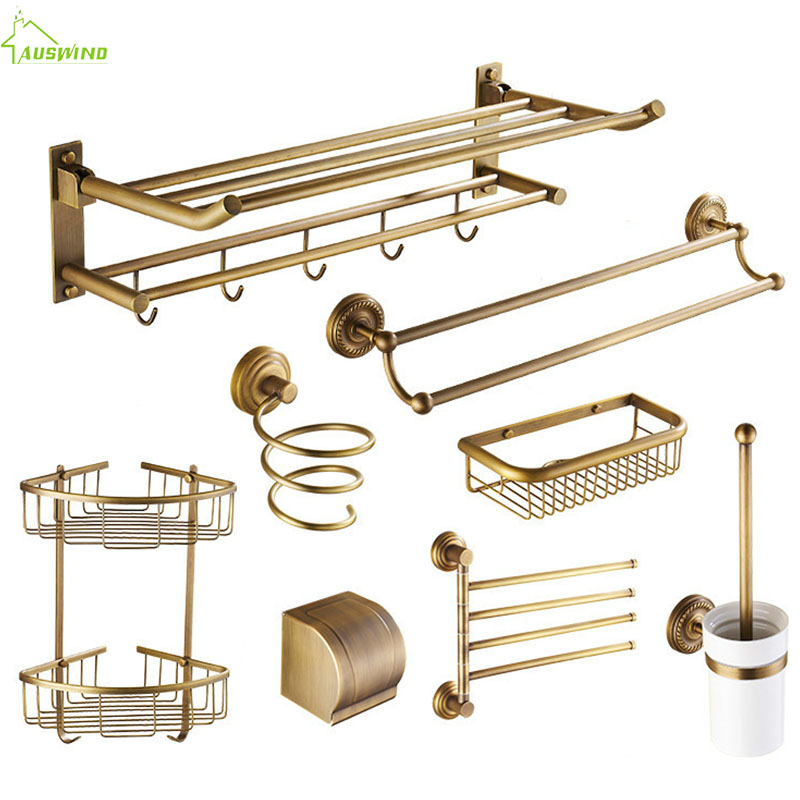 Accessories:  Antique Copper Pendant Bathroom Accessories Sets Brushed Solid Brass Carved Bathroom Hardware Sets European Bathroom Products - Martin's & Co