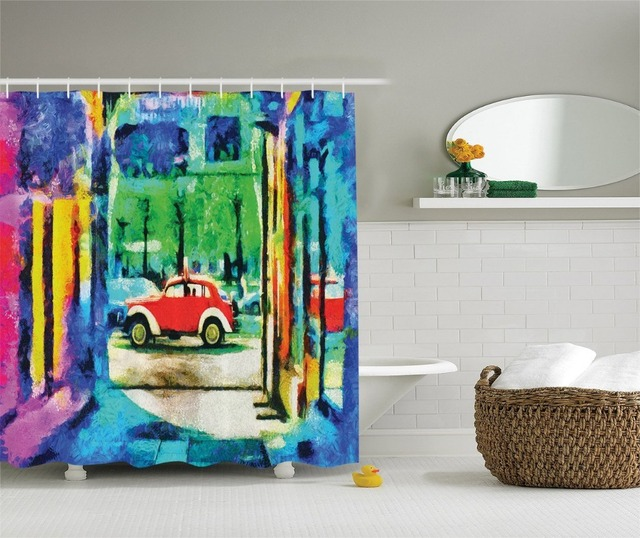 Shower Curtain Oil Painting Art Retro Car Moving on the Way in Town ...