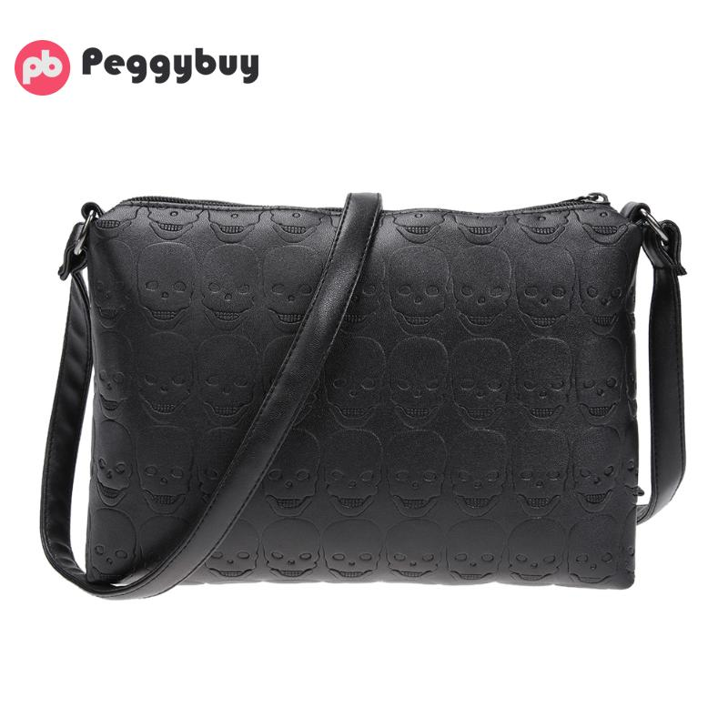 Small Shoulder Messenger Bags Leather Crossbody Bag for Women Soft PU Skull Zipper Female Envelope Girl Fashion Chain Handbags women handbag shoulder bag messenger bag casual colorful canvas crossbody bags for girl student waterproof nylon laptop tote