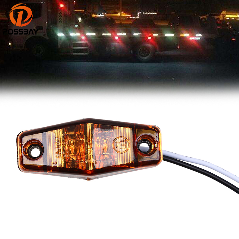 POSSBAY 2 LED Yellow/Red/White Car Trailer Truck Side Marker Indicator Lights Waterproof Signal Warning Lamps