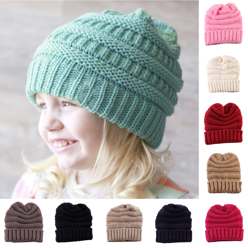 Baby Kids Girls Boys Warm Winter Wool Knitting Beanie Hat Crochet Ski Ball Cap the new children s cubs hat qiu dong with cartoon animals knitting wool cap and pile