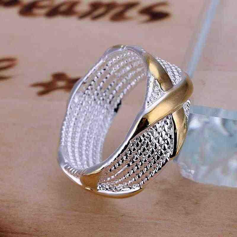 Kiteal 925 เครื่องประดับแฟชั่นแหวนเงินทองสีแยก r X แหวนเงินผู้หญิงผู้ชายของขวัญนิ้วมือแหวน