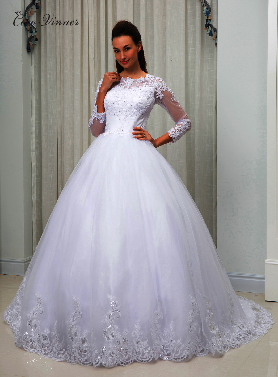 Long Sleeves Sequined Lace Embroidery Arabic Wedding Dress Ball Gown Illusion Sheer Neck Plus Size Bridal Gown W0049