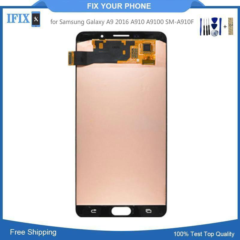 6,0 ЖК дисплей для samsung Galaxy A9 2016 A910 A9100 SM A910F ЖК дисплей Сенсорный экран планшета Стекло сборки 100 шт./лот
