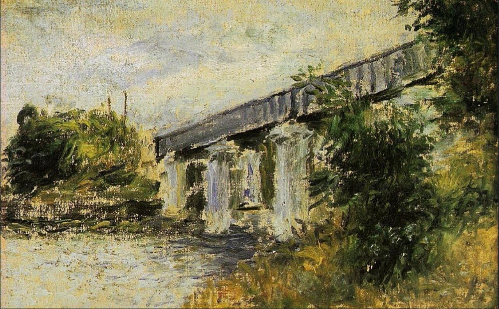 High quality Oil painting Canvas Reproductions Railway Bridge at Argenteuil (1874) By Claude Monet Painting hand painted