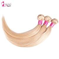 Ms Cat Hair Products 3 Bundles Brazilian Straight Hair Bundles Color 613 Blonde Human Hair Weave Remy Hair Extension
