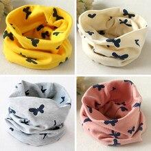 Lenço gola redonda infantil borboleta, lenço de algodão para outono e inverno para meninos e meninas, gola redonda 2019 cachecóis