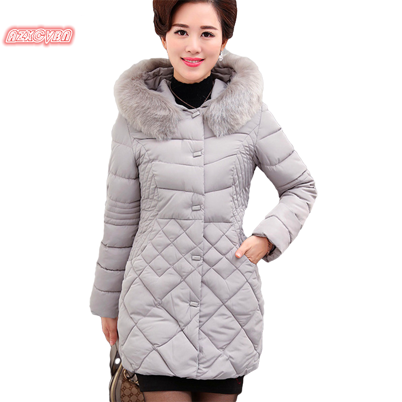 ФОТО 2016 middle aged women with warm winter jackets thickened cotton slim women plus size hair collar coat coats women ss050-0