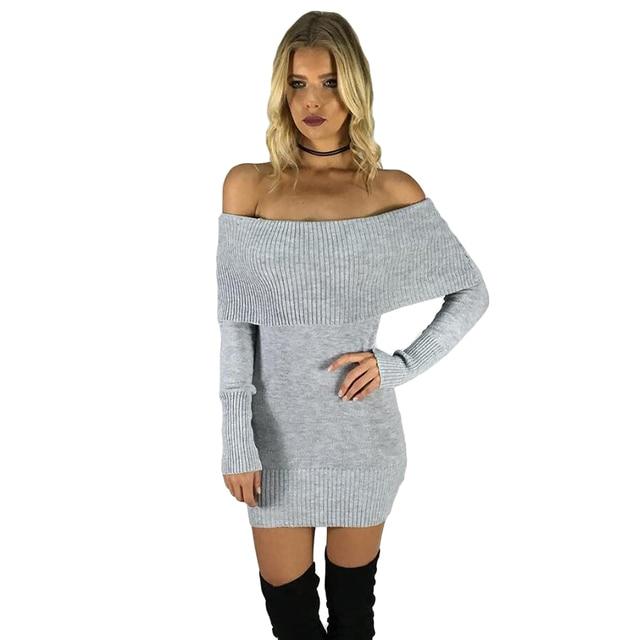b9da79449bba Liooil 2019 Spring Long Sleeve Sweater Bodycon Mini Dress Women Sexy Dress  Off The Shoulder Womens Clothing Grey Black Dresses