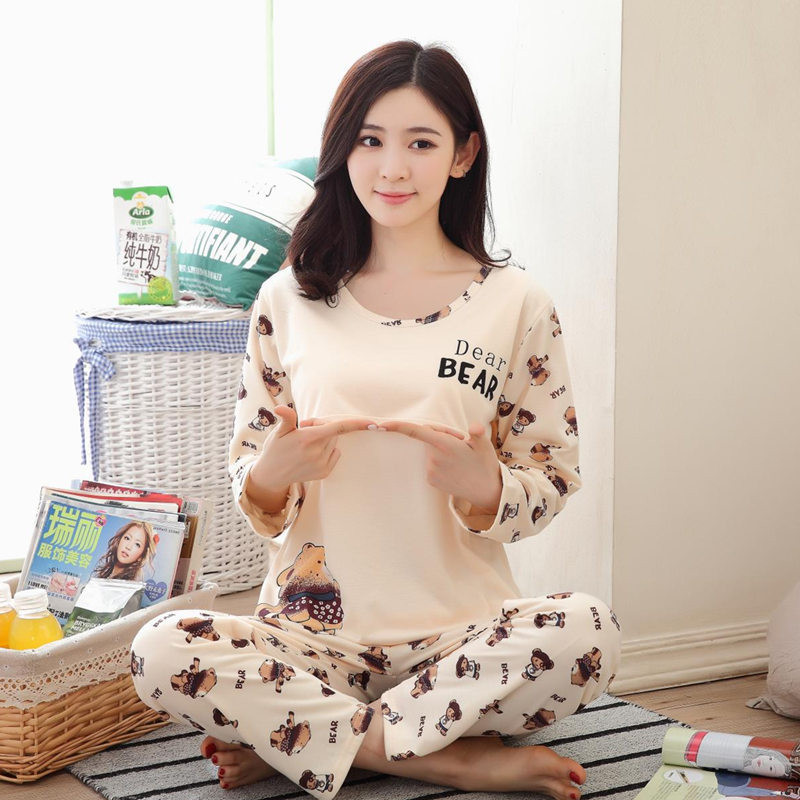 New spring and autumn maternity lactation clothes long sleeved out confinement confineme ...