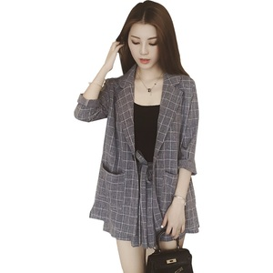 Image 5 - Trytree Spring summer Women two piece set Casual tops + shorts plus size plaid Top Female Office Suit Set Womens 2 Piece Set