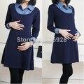 2017 Winter Autumn Denim Patchwork False Two Pieces Maternity Dresses for Pregnant Women,Long-sleeved Dress Pregnancy Clothes