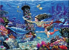 5D DIY Diamond Painting Cross Stitch Mermaid Dolphin Embroidery Sea World Square Full Drill Mosaic Decoration
