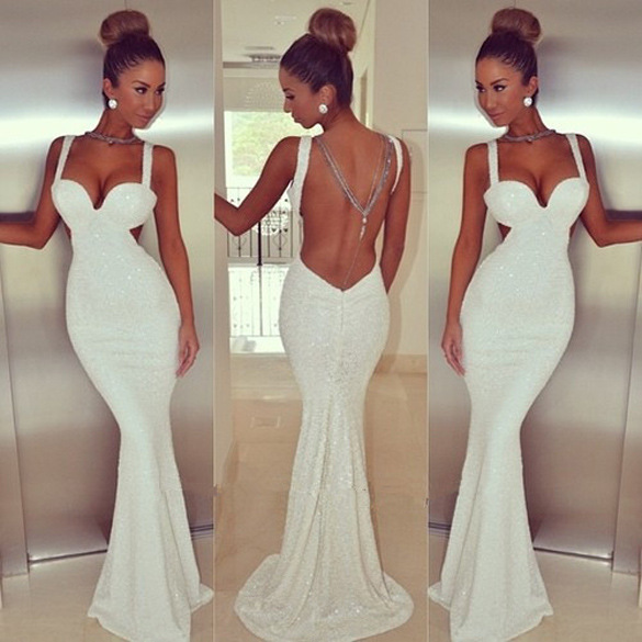 Online Shop Sexy White Black Peplum Maxi Dress Backless Strapless ...